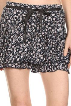 Relaxed Style Floral Mini Skort