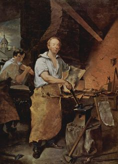 Pat Lyon at the Forge, by John Neagle, 1829 - oil on canvas. Location: Museum of Fine Arts, Boston, MA. Blacksmith Workshop, Blacksmith Shop, Fashion Design Sketches, Museum Of Fine Arts, American Artists, Blacksmithing, Lyon, Oil On Canvas, Pictures