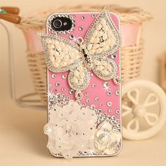 Rhinestone Butterfly & White Flowers Design Hand Made Hard Case for iPhone 4/4s