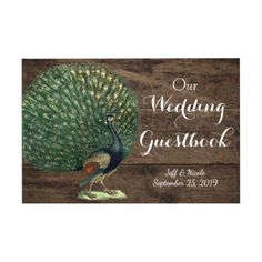 #wood - #Rustic Wood Teal Feather Peacock Wedding Guest Book