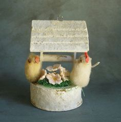Vintage Wishing Well with Cotton Chick Rooster Ornament Japan
