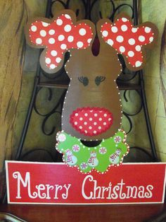 Whimsical Wooden Reindeer Yard Sign or Door Hanger