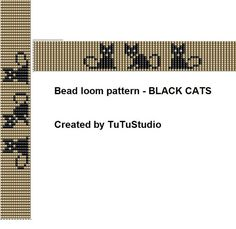 Black cats loom bead bracelet pattern by TuTuStudio on Etsy                                                                                                                                                                                 More