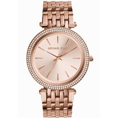 Michael Kors Women's Darci Watch, Rose Gold. An elegant addition to your collection: a glistening Darci watch from Michael Kors. Rose-gold-tone stainless steel bracelet (6-9/10' L) Round case, 39mm, b