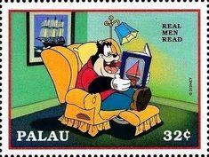 Francobollo: Real men read (Repubblica di Palau) (Leggiamo Disney) Mi:PW 1255,Sn:PW 447h