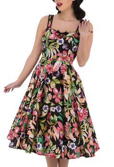 H&R Magenta LILY Träger Keyhole Vintage FLOWER Scoop Swing Dress KLEID | Swing Kleider | Kleider | Damen | Killer Kirsche