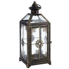 Black Metal Jeweled Lantern
