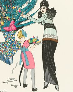 Christmas illustration by Francisco Javier Gosé - Vintage Santa Claus, Vintage Santas, Vintage Christmas, Christmas Poster, Christmas Banners, Christmas Cards, Vintage Images, Vintage Posters, Tree Icon