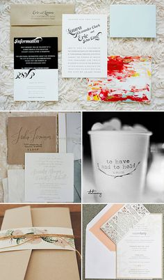 Black, White, Kraft Paper + Color: 100 Layer Cake  Calligraphy: Once Wed  Personalized cups: Once Wed  Floral belly bands: Green Wedding Shoes  Lace belly band: Grey Likes Weddings