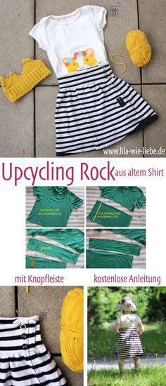 Sewing a children's skirt with a button placket from an old shirt – upcycling – free instructions – purple like love – KinderMode Picnic Decorations, Patriotic Decorations, Skirts For Kids, Old Shirts, Knitting For Beginners, Sewing Patterns Free, Sewing Tutorials, Kids Wear, Diy Fashion