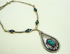 Navajo Crafted Turquoise Collar Necklace With Drop Down Pendant.