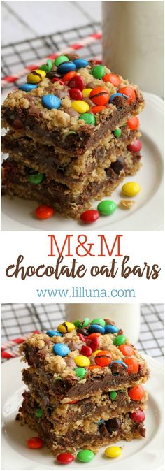 One of the best bar recipes you'll ever try! M&M Chocolate Oat Bars - SO yummy! { }One of the best bar recipes you'll ever try! M&M Chocolate Oat Bars - SO yummy! Brownie Recipes, Bar Recipes, Baking Recipes, Cookie Recipes, Candy Recipes, Recipies, Chocolate Oat Bars Recipe, Chocolate Oats, Chocolate Recipes