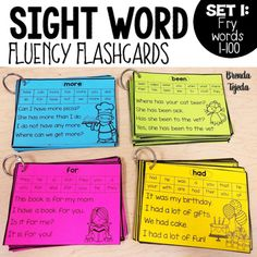 Making Flash Cards with Word Fresh Sight Word Fluency Flashcards Fry Words 1 100 by Brenda Reading Fluency, Reading Skills, Teaching Reading, Guided Reading, Reading Centers, Reading Intervention Classroom, Teaching Ideas, Word Reading, Reading Games