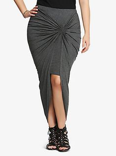 To go with the dress I just bought. - Twisted Asymmetrical Skirt, CHARCOAL HEATHER