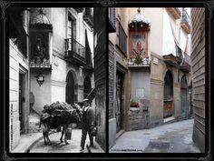 Bajada de Santa Eulalia (FOTOS DE BARCELONA Fotografías comparativas de Barcelona. Pasado y presente)