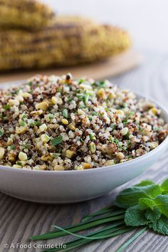 Grilled corn and quinoa salad with pine nuts and lots of fresh herbs ...