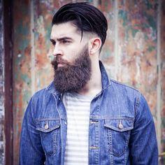 Chris John Millington - full thick dark beard and mustache beards bearded man men mens' style model hair hairstyle undercut denim jean jacket fashion #goodhair #beardsforever
