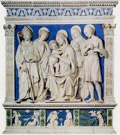 Andrea della Robbia, Madonna col Bambino tra i SS. Lodovico, Caterina d'Alessandria, Maria Maddalena e Girolamo, 1480 ca. Gradara, Rocca, cappella