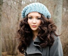 Sale 10% Off - Hand Knit Hat Womens Hat - The Soho Beret in Glacier Blue - Fall Fashion Autumn Fashion Autumn Accessories. $45.00, via Etsy.