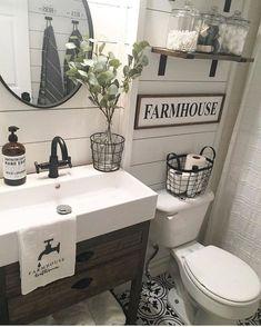 Top Rustic Farmhouse Bathroom Ideas (77)