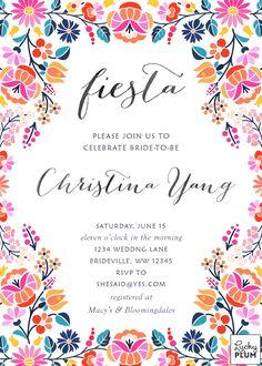 Fiesta Bridal Shower Invitation Fiesta Invitation Template YOU