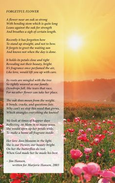 What a beautiful poem written by a son for his mom who had Alzheimer's disease for about 13 years.