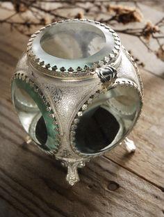 Vintage Ring Box Pewter & Glass 4x3 $28