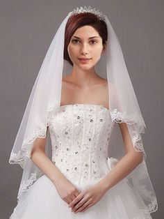 Two Tier Finger Tip Length Wedding Veil with Lace Edge Ieie's Bridal