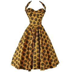 1950's Will Steinman Gold Abstract Circle Dress