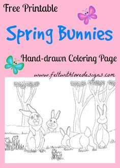 Free Printable Hand-drawn Coloring Page – Spring Bunnies {Felt With Love Designs}
