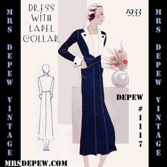 This is a digital draft-at-home pattern for a stunning afternoon dress from 1933. The 3/4 length dress features a slim long sleeve with cuff and button