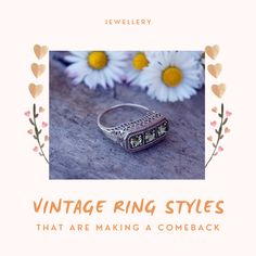 vintage rings are making a comeback #vintage #vintagerings #vintagestyle Vintage Rings, Vintage Jewelry, Fashion Rings, Spin, Comebacks, Class Ring, Vintage Fashion, Ring Styles, Cosmetics