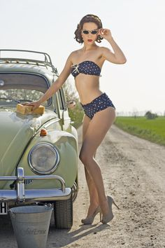 The vintage VW beetle is just perfect for pinup shots