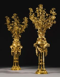 A large and important pair of Louis XVI ormolu seven-light candelabra, ca. 1770