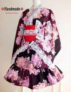 Japanese Kimono Dress washable Flower Lace Purple Dress Cosplay Gothic and Lolita Ribbon Maid Dress Kimono Robe Ninja Party dress Kawaii 05