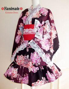 Japanese Kimono Dress washable Flower Lace Purple Dress Cosplay Gothic and Lolita Ribbon Maid Dress Kimono Robe Ninja Party dress Kawaii 05 Japanese Kimono Dress, Ninja Party, Maid Dress, Chinese Clothing, Japanese Outfits, Yukata, Lolita Dress, Purple Dress, Cute Fashion