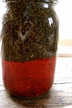 Herbal Vinegar Cleaner, i made a quick vesion with essential oils I had on hand, but love the idea.