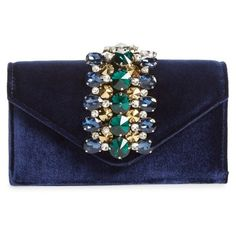 Women's Sondra Roberts Crystal Embellished Velvet Box Clutch ($78) ❤ liked on Polyvore featuring bags, handbags, clutches, navy, velvet clutches, navy blue clutches, blue clutches, party handbags and velvet handbags