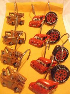 Disney Cars 12 pc Set Shower Curtain Hooks Kids Bathroom Mater McQueen No 95 #Disney