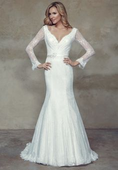 44e1404b94f Bridget - Lace A-line wedding dress with v-neckline. Satin waistband with  applique detail. Featuring deep v-back with beaded strand draped at  shoulders.