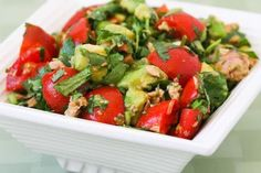 I love this easy and delicious Summer Tomato Salad with Avocado, Tuna, Cilantro, and Lime. Use parsley if you're not a cilantro fan. [from KalynsKitchen.com]