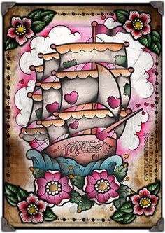 Love Boat Tattoo Flash Print Sheet by VorssaInk on Etsy, €14.00