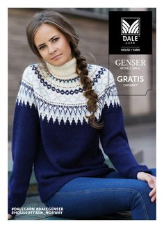 Dagens gratisoppskrift: Genser med hals | Strikkeoppskrift.com Knitting Stiches, Knitting Patterns, Red White And Boom, Norwegian Knitting, Icelandic Sweaters, Knit Basket, Fair Isle Knitting, Knitwear, Knit Crochet