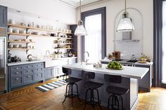 open shelves, painted cabinets, grey