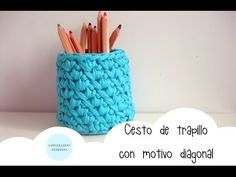Cesto de trapillo con motivo diagonal / TUTORIAL - YouTube