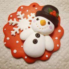Décoration de sapin bonhomme de neige (christmas ornament) - Pâte polymère Fimo (polymer clay) - Myriam Lakraa Créations