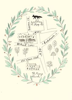 Wedding map - wedding stationery by Ryn Frank www.rynfrank.co.uk                                                                                                                                                     More