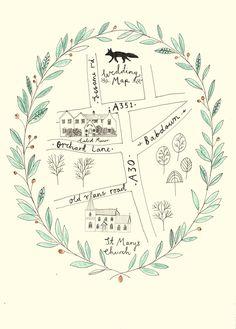Wedding map - wedding stationery by Ryn Frank www.rynfrank.co.uk