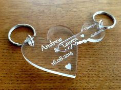 Personalised Laser Cut & Engraved Connecting Key to Heart Keyrings The size of the keyrings (Individually) are: Heart (approx): x x Key (Approx): x x Made from high quality clear cast acrylic with engraved writing which gives a white, frosted finish. Laser Cutter Ideas, Laser Cutter Projects, Personalized Valentine's Day Gifts, Personalized Wedding, Laser Cnc, Gravure Laser, Acrylic Keychains, Heart Keyring, Valentines Day Gifts For Her