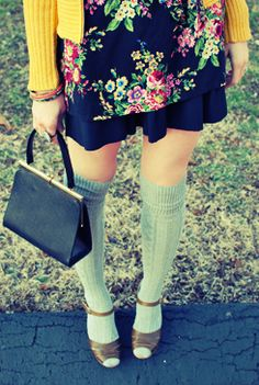 Mustard sweater and knee highs with heels. I approve.